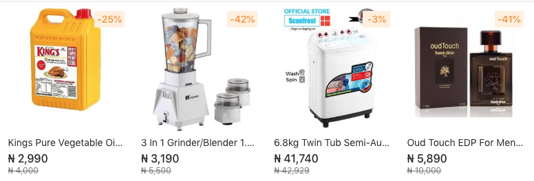 Screenshot of an online store in Nigeria