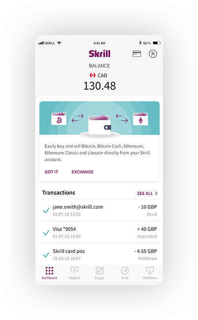 The wallet can be managed over mobile apps