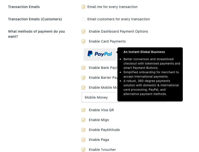 Enabling PayPal option inside FlutterWave dashboard